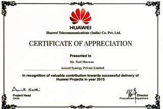 APPRECIATION AWARD 2015 FROM HUAWEI