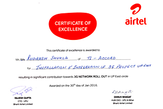 CERTIFICATE OF EXCELLENCE AWARD, 2016 FROM AIRTEL